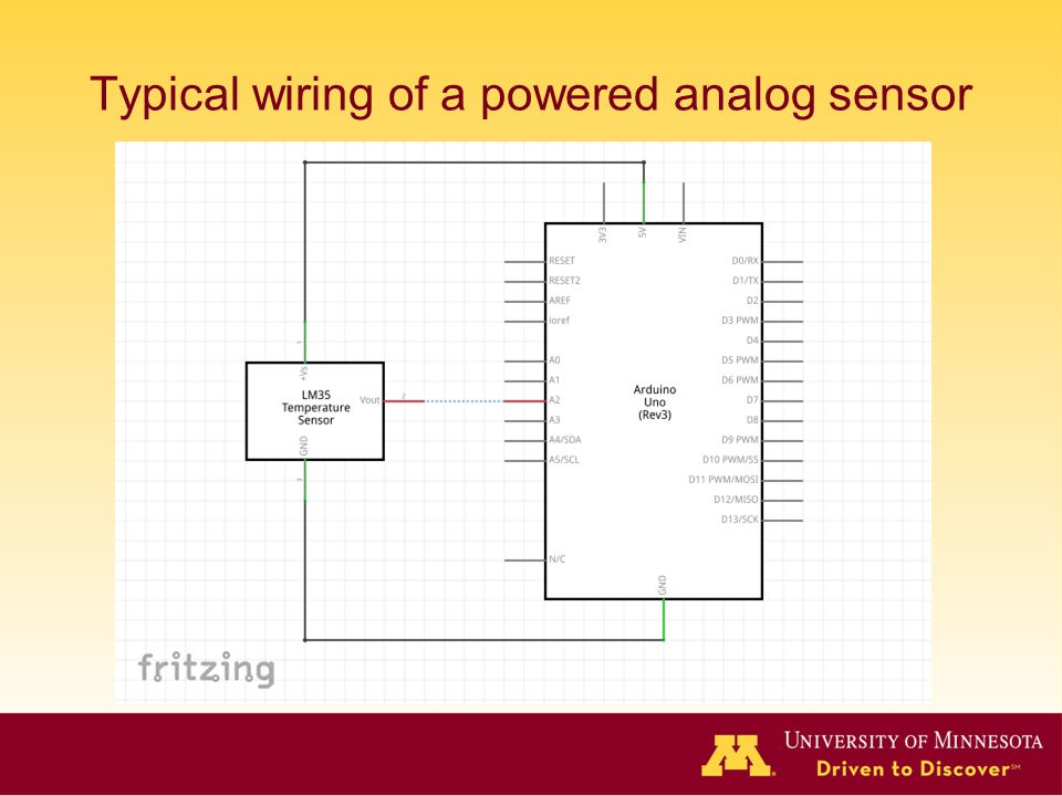 Typical wiring of a powered analog sensor