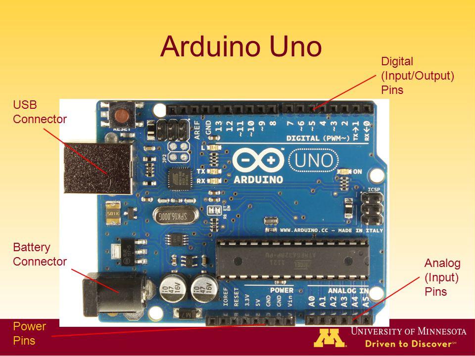Arduino Uno USB Connector Battery Connector Power Pins Analog (Input) Pins Digital (Input/Output) Pins
