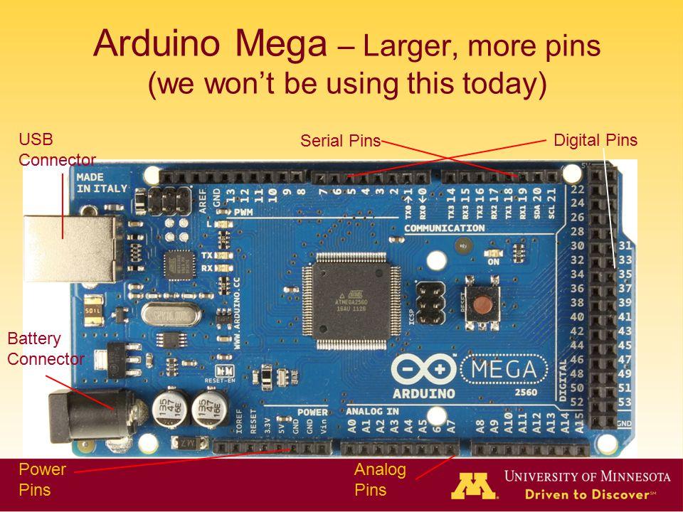 Arduino Mega – Larger, more pins (we won't be using this today) USB Connector Battery Connector Power Pins Analog Pins Digital Pins Serial Pins