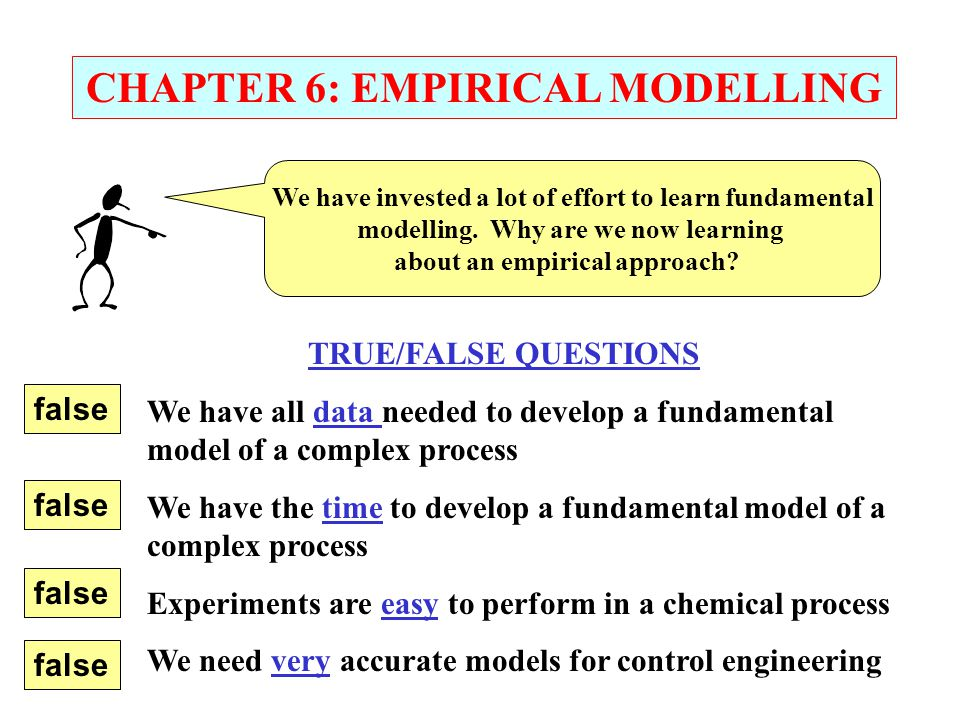 CHAPTER 6: EMPIRICAL MODELLING We have invested a lot of effort to learn fundamental modelling.