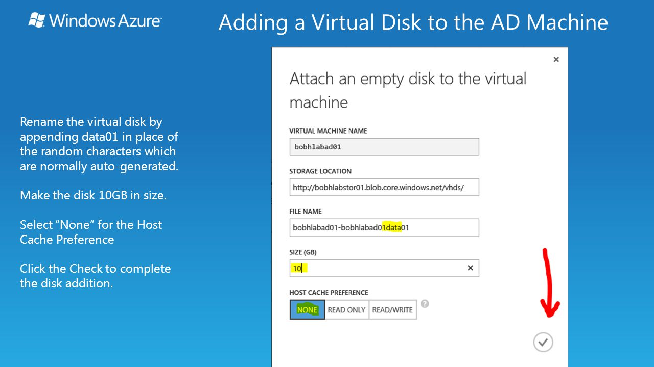 Rename the virtual disk by appending data01 in place of the random characters which are normally auto-generated.