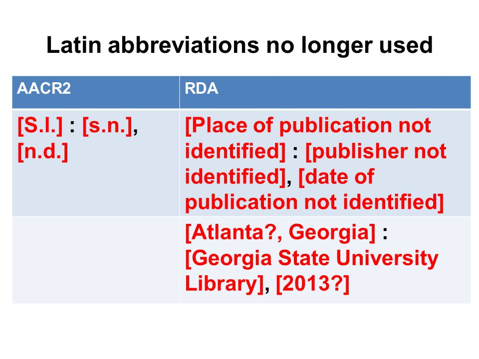 Latin abbreviations no longer used AACR2RDA [S.l.] : [s.n.], [n.d.] [Place of publication not identified] : [publisher not identified], [date of publication not identified] [Atlanta , Georgia] : [Georgia State University Library], [2013 ]