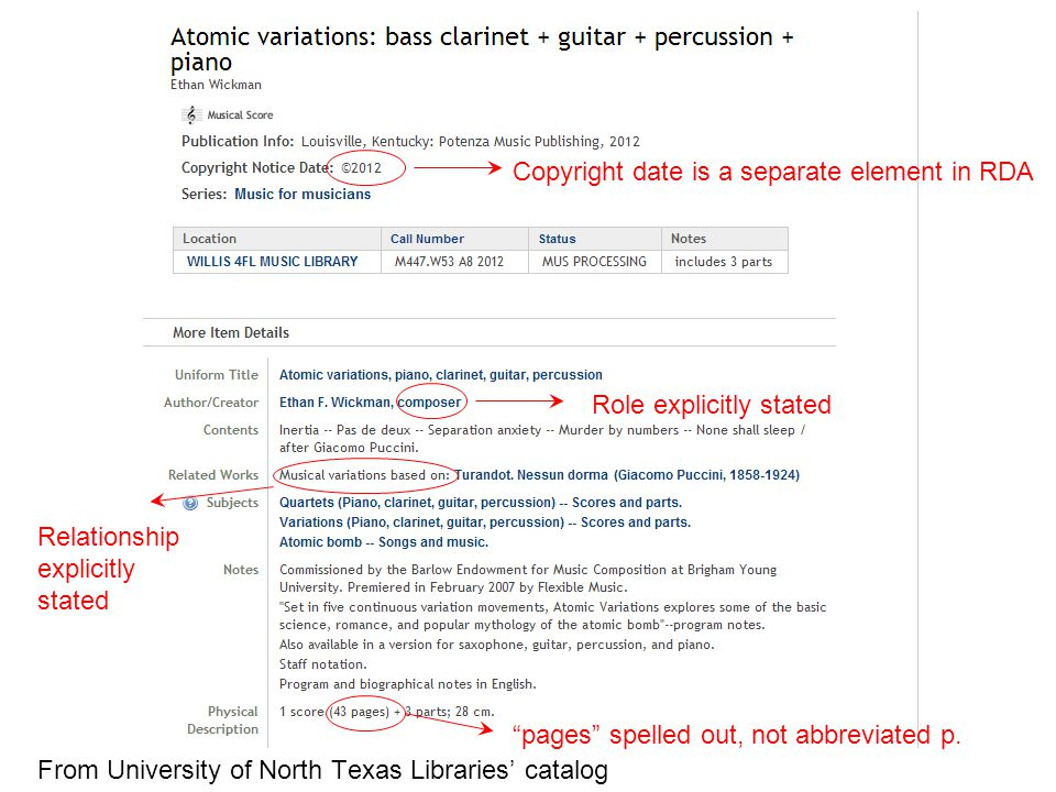 From University of North Texas Libraries' catalog Copyright date is a separate element in RDA Role explicitly stated Relationship explicitly stated pages spelled out, not abbreviated p.