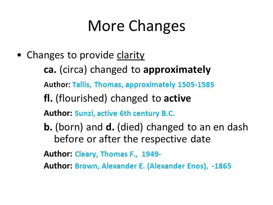 More Changes Changes to provide clarity ca.