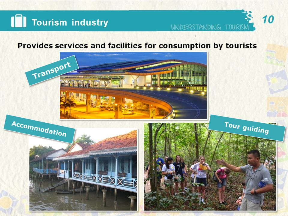 Tourism industry Provides services and facilities for consumption by tourists 10 Transport Tour guiding Accommodation