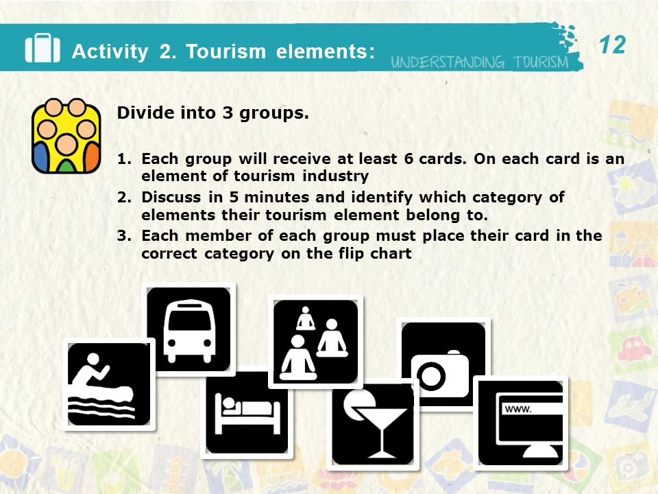 Activity 2. Tourism elements: Divide into 3 groups.