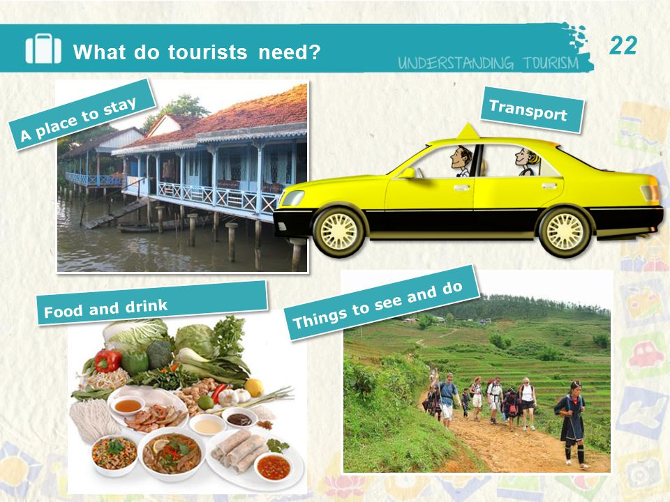 Transport A place to stay Things to see and do Food and drink What do tourists need 22