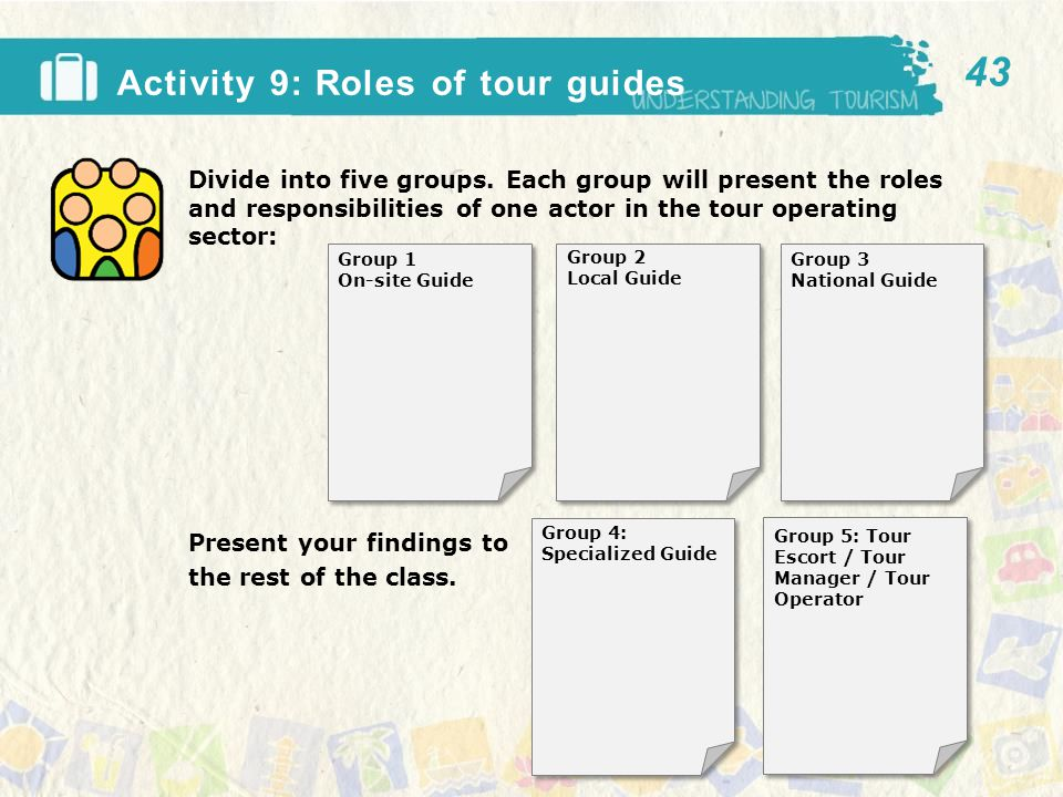 Activity 9: Roles of tour guides Divide into five groups.