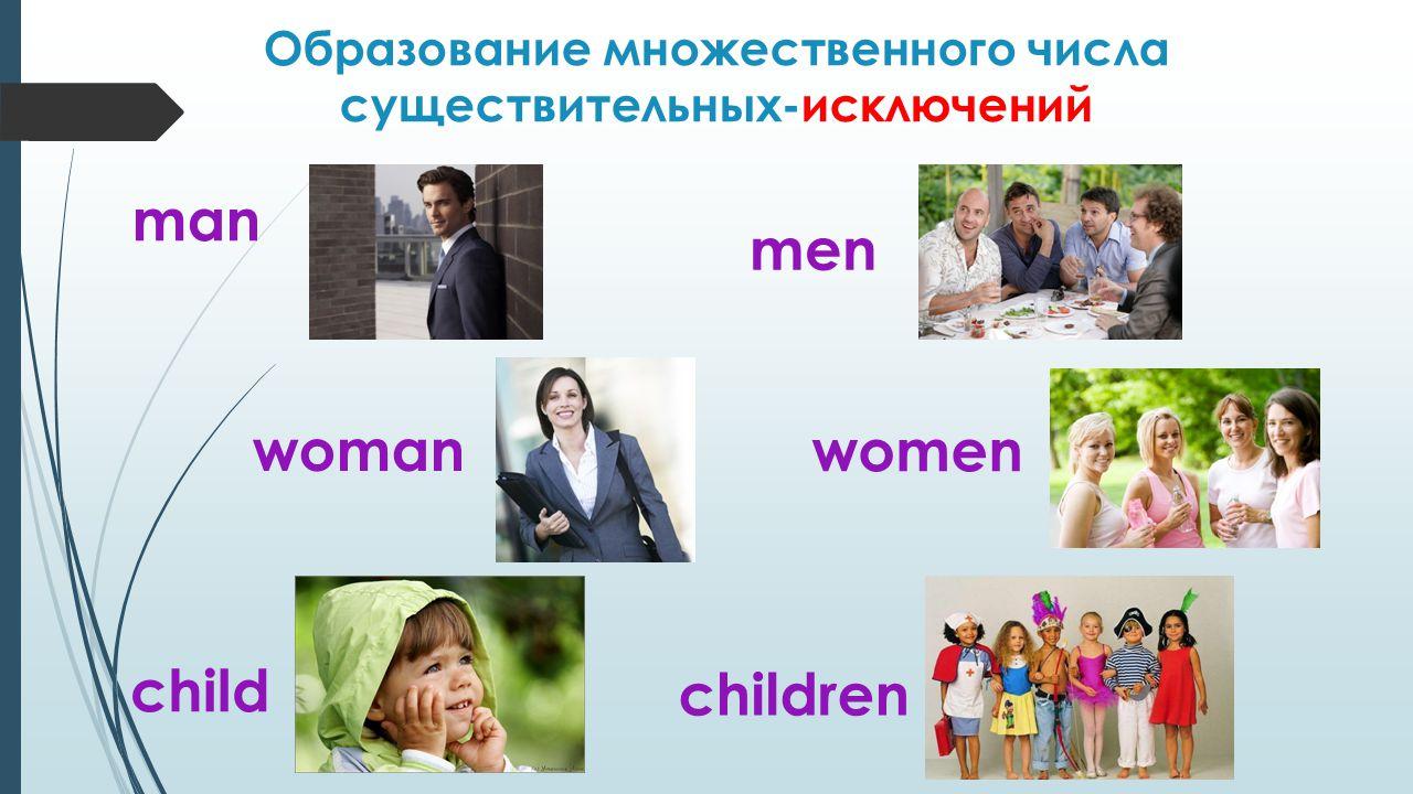 Образование множественного числа существительных-исключений man men woman women child children