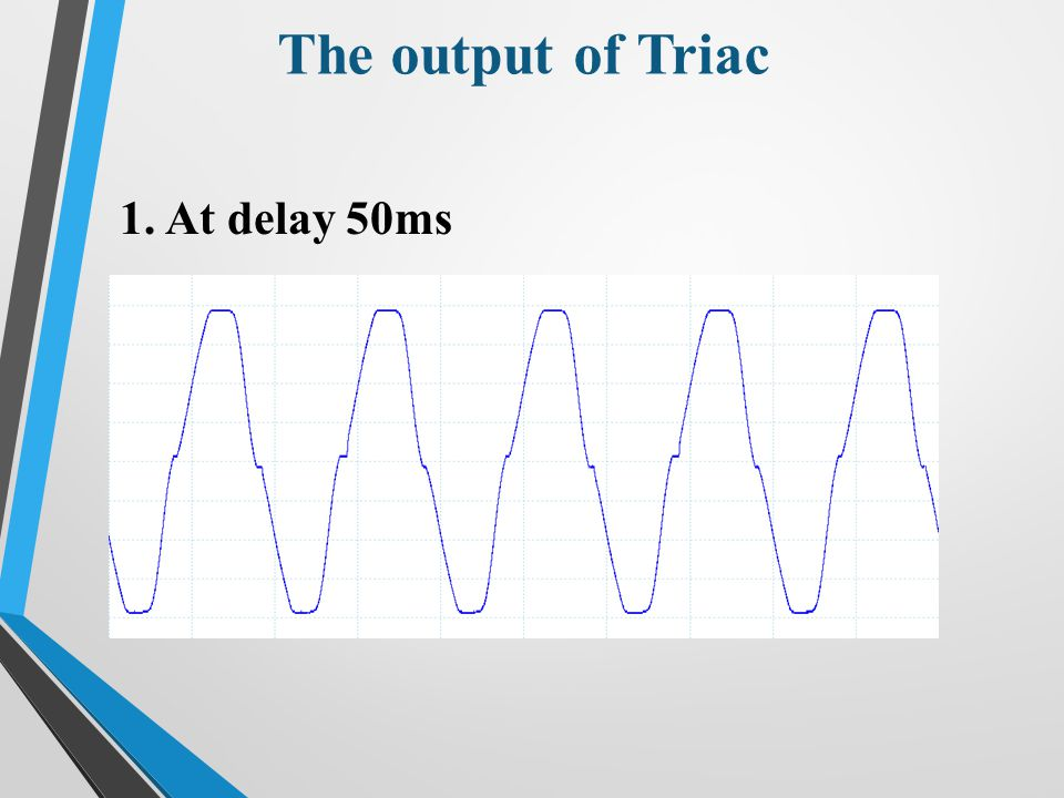 The output of Triac 1.At delay 50ms