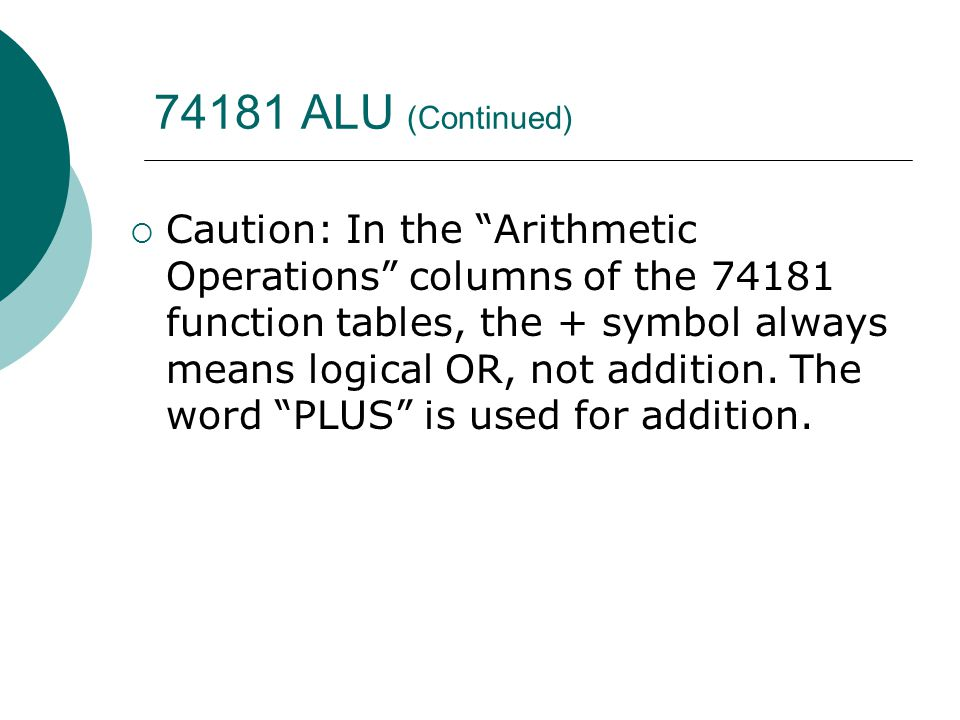"74181 ALU (Continued)  Caution: In the ""Arithmetic Operations"" columns of the 74181 function tables, the + symbol always means logical OR, not additi"