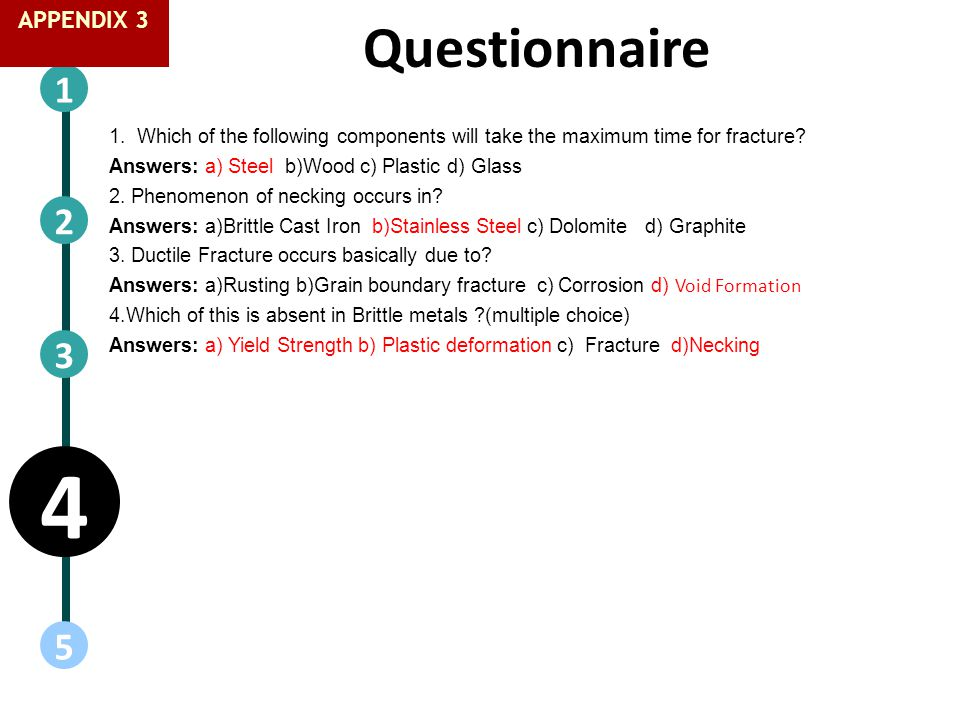 Questionnaire 1 5 2 4 3 1. Which of the following components will take the maximum time for fracture? Answers: a) Steel b)Wood c) Plastic d) Glass 2.