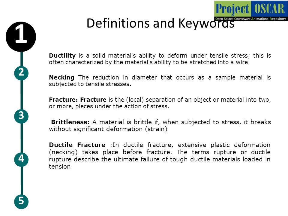 Definitions and Keywords Ductility is a solid material's ability to deform under tensile stress; this is often characterized by the material's ability