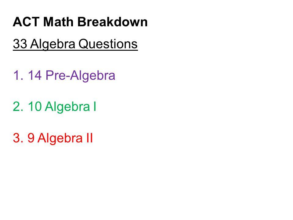 ACT Math Breakdown 33 Algebra Questions 1.14 Pre-Algebra 2.10 Algebra I 3.9 Algebra II