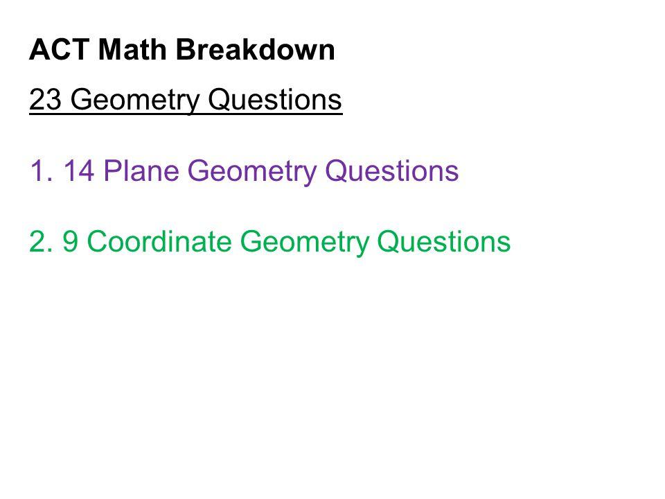 ACT Math Breakdown 23 Geometry Questions 1.14 Plane Geometry Questions 2.9 Coordinate Geometry Questions