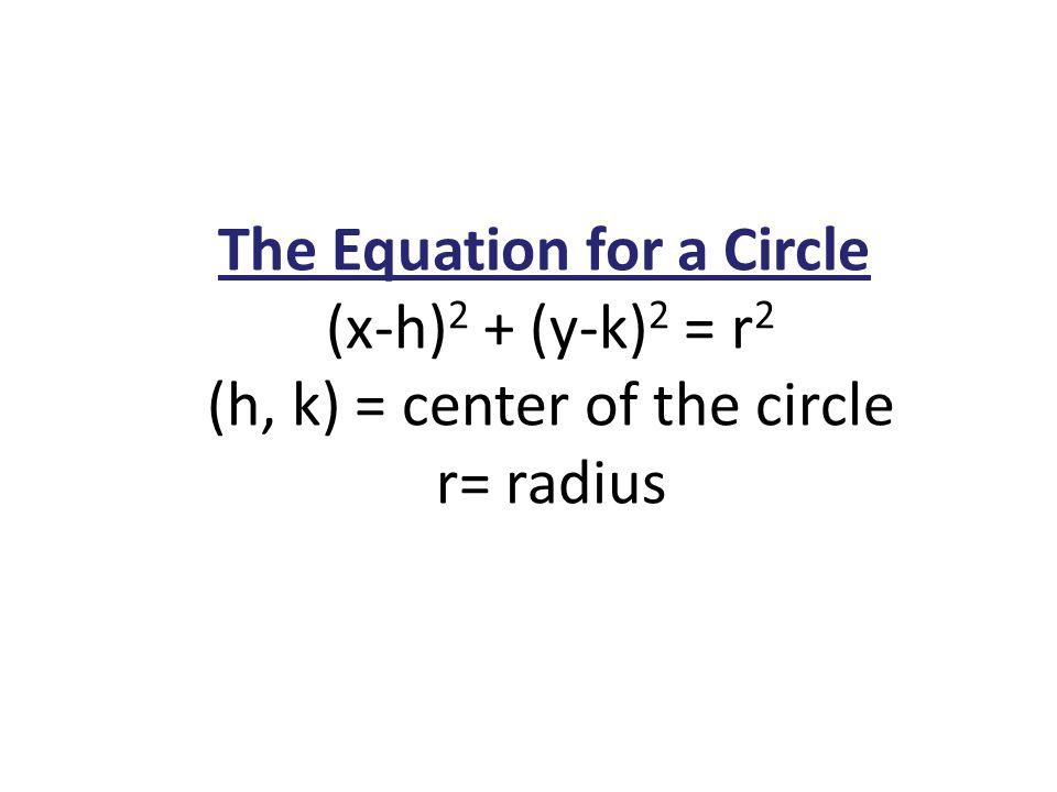 The Equation for a Circle (x-h) 2 + (y-k) 2 = r 2 (h, k) = center of the circle r= radius