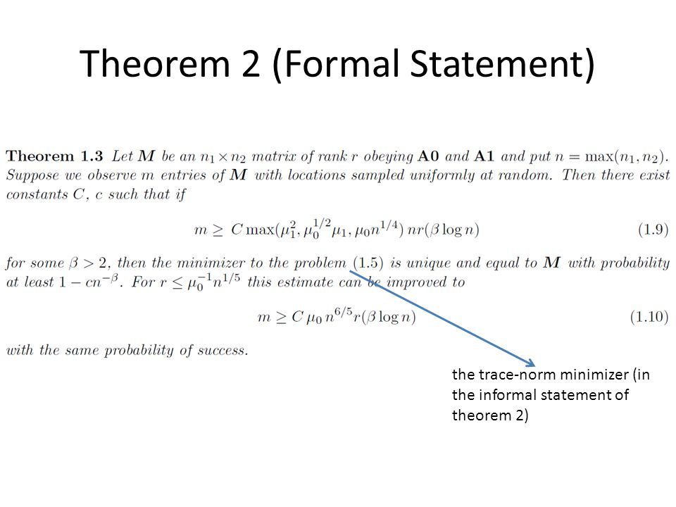 Theorem 2 (Formal Statement) the trace-norm minimizer (in the informal statement of theorem 2)