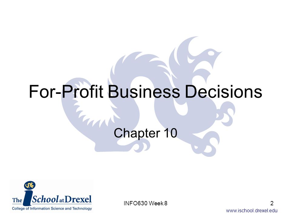 www.ischool.drexel.edu Present Worth on Total Investment Preferred method –Comparison on incremental investment Other options –Total Investment Can not use IRR Must use –PW() –FW() –AE() 23INFO630 Week 8
