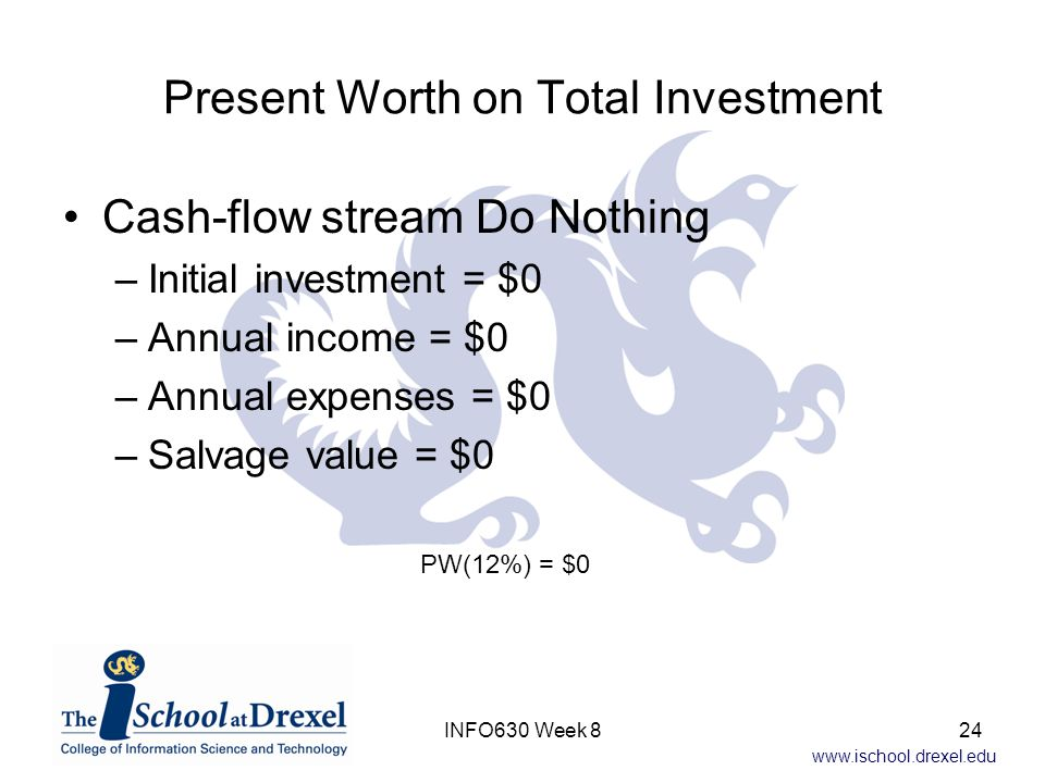 www.ischool.drexel.edu Present Worth on Total Investment Cash-flow stream Do Nothing –Initial investment = $0 –Annual income = $0 –Annual expenses = $0 –Salvage value = $0 PW(12%) = $0 24INFO630 Week 8