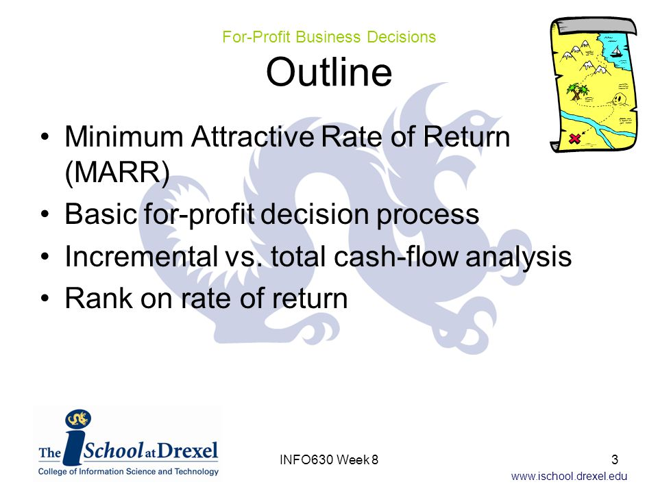 www.ischool.drexel.edu Minimum Attractive Rate of Return (MARR) Basic for-profit decision process Incremental vs.