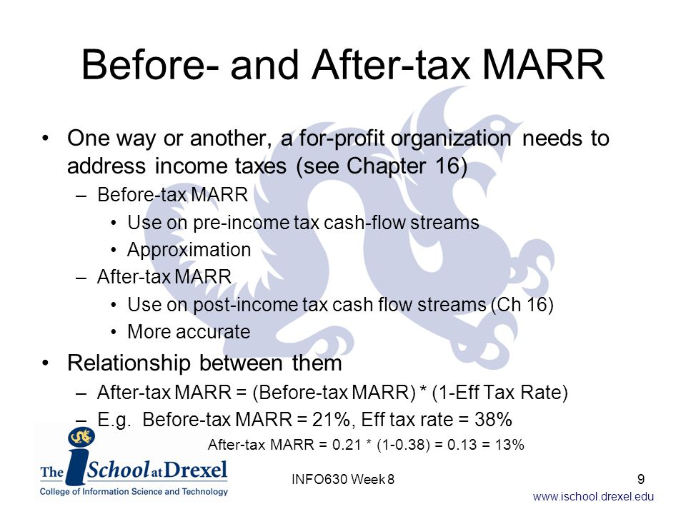 www.ischool.drexel.edu IRR on Incremental Investment Differential cash-flow stream (A-Do Nothing) –Initial investment = $5300 - $0 = $5300 –Annual income = $4142 - $0 = $4142 –Annual expenses = $3144 - $0 = $3144 –Salvage value = $210 - $0 = $210 IRR = 10.62% IRR of differential <= MARR, so Do Nothing is better 20INFO630 Week 8