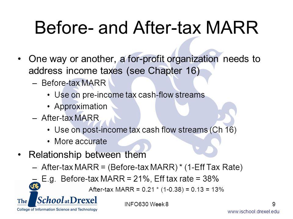 www.ischool.drexel.edu Rank on Rate of Return Flaw—Example (cont) Alternative A0 –IRR = 15% –PW(MARR) = $0 Alternative A1 –IRR = 24.9% –PW(MARR) = $12,512 Alternative A2 –IRR = 19.9% –PW(MARR) = $13,168 Alternative A3 –IRR = 21.4% –PW(MARR) = $18,979 Alternative A1 has highest IRR, but A3 has highest PW(MARR) 30INFO630 Week 8