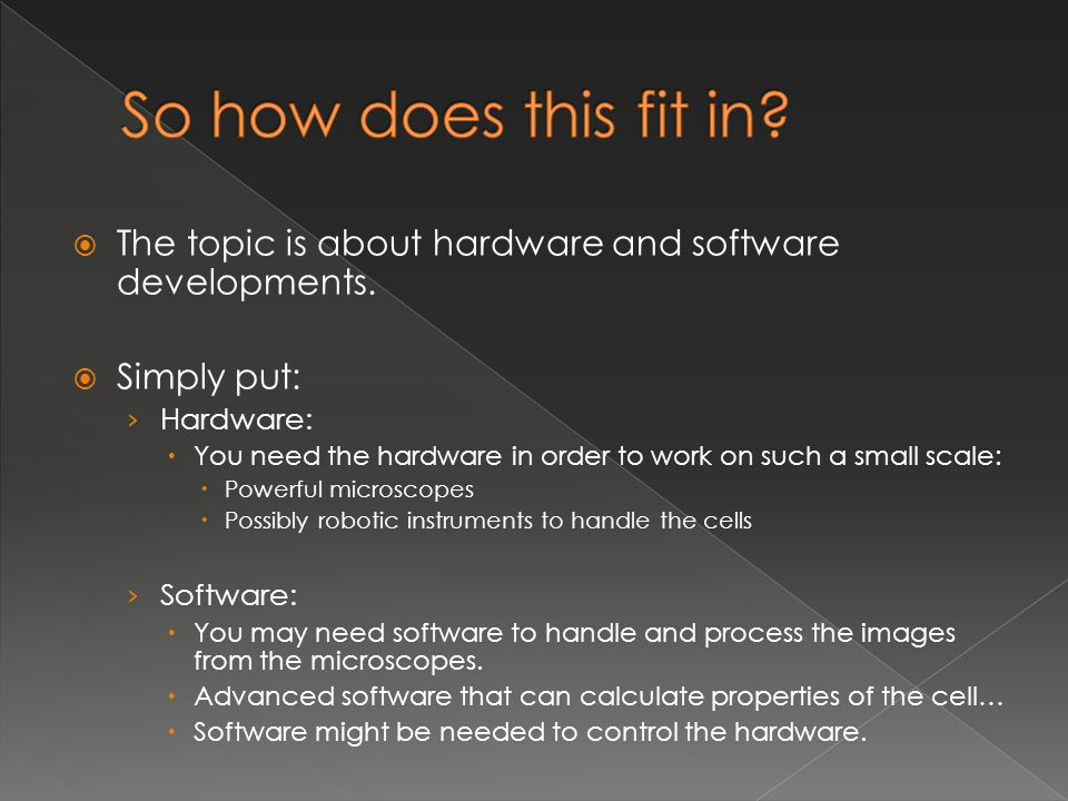  The topic is about hardware and software developments.  Simply put: › Hardware:  You need the hardware in order to work on such a small scale:  P