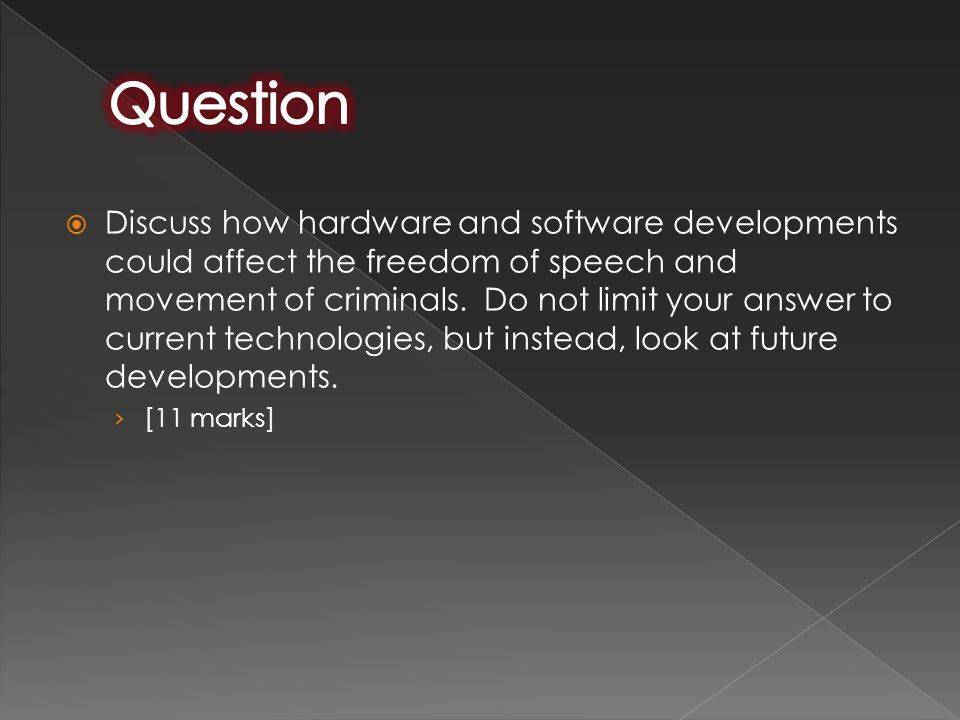  Discuss how hardware and software developments could affect the freedom of speech and movement of criminals. Do not limit your answer to current tec