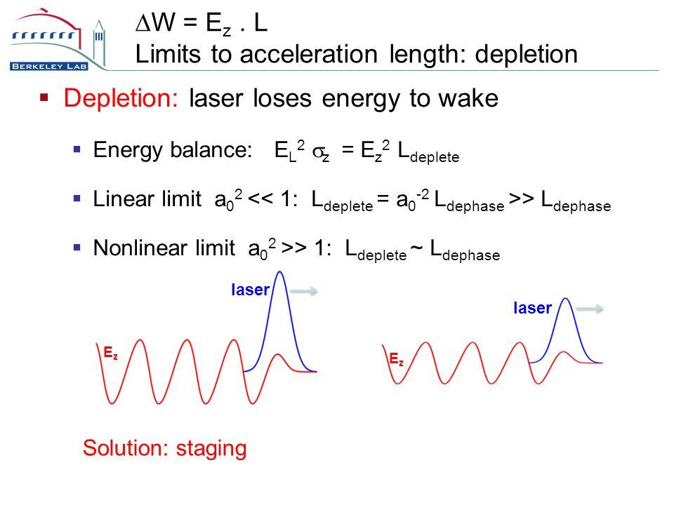  Depletion: laser loses energy to wake  Energy balance: E L 2  z = E z 2 L deplete  Linear limit a 0 2 > L dephase  Nonlinear limit a 0 2 >> 1: L deplete ~ L dephase  W = E z.