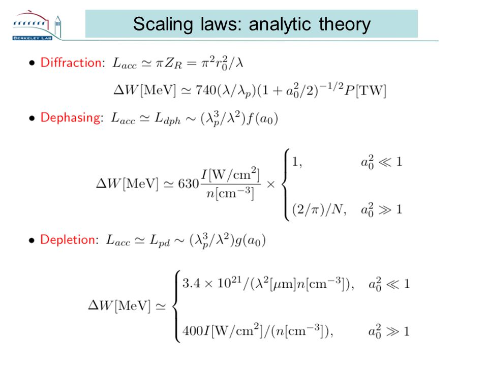 16 Scaling laws: analytic theory