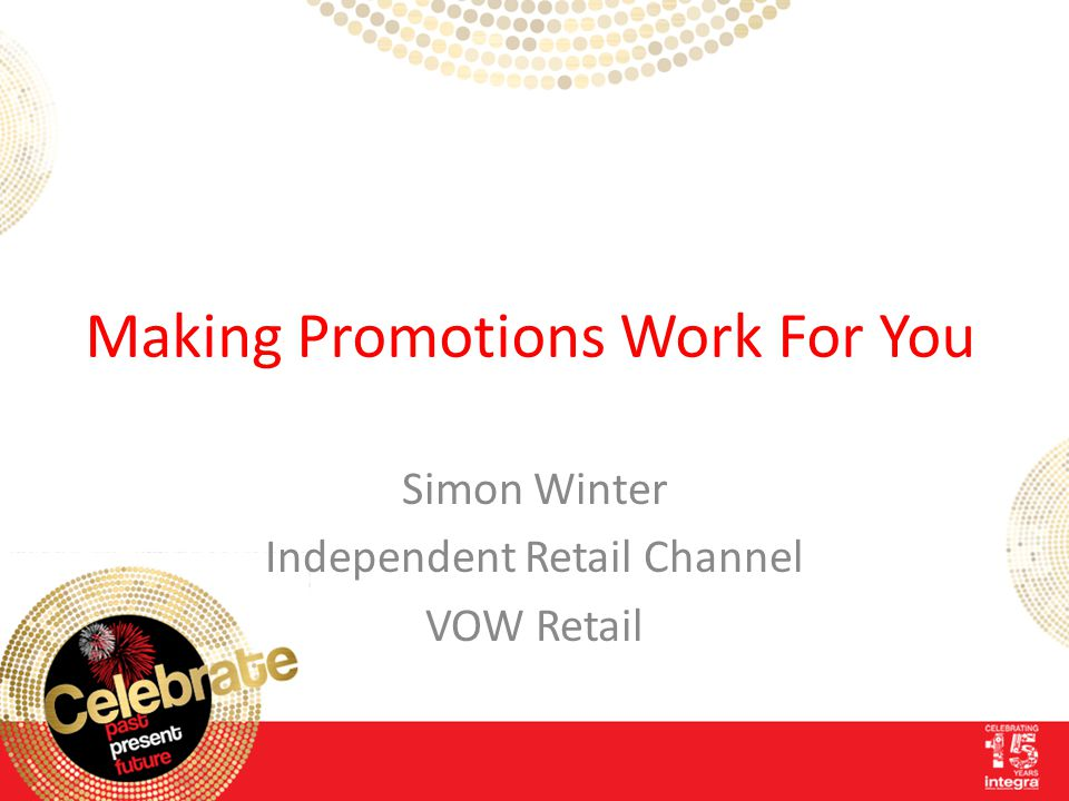 Making Promotions Work For You Simon Winter Independent Retail Channel VOW Retail