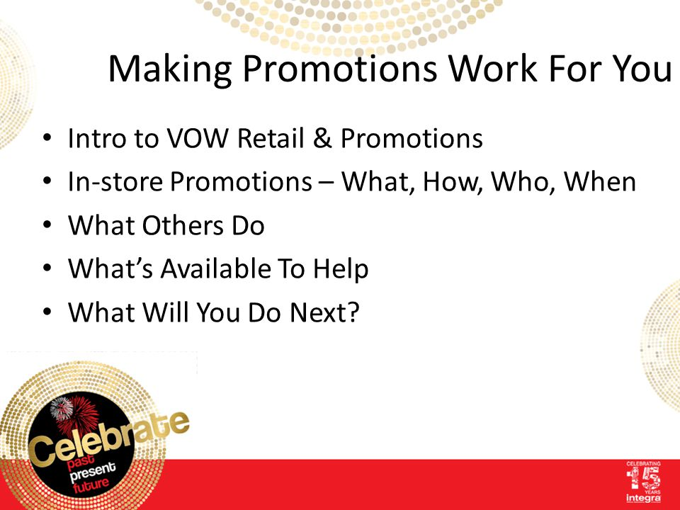 Making Promotions Work For You Intro to VOW Retail & Promotions In-store Promotions – What, How, Who, When What Others Do What's Available To Help What Will You Do Next?