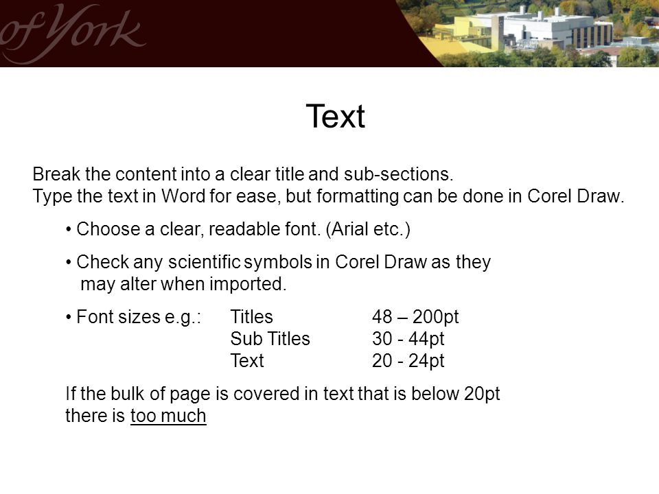 Text Break the content into a clear title and sub-sections.