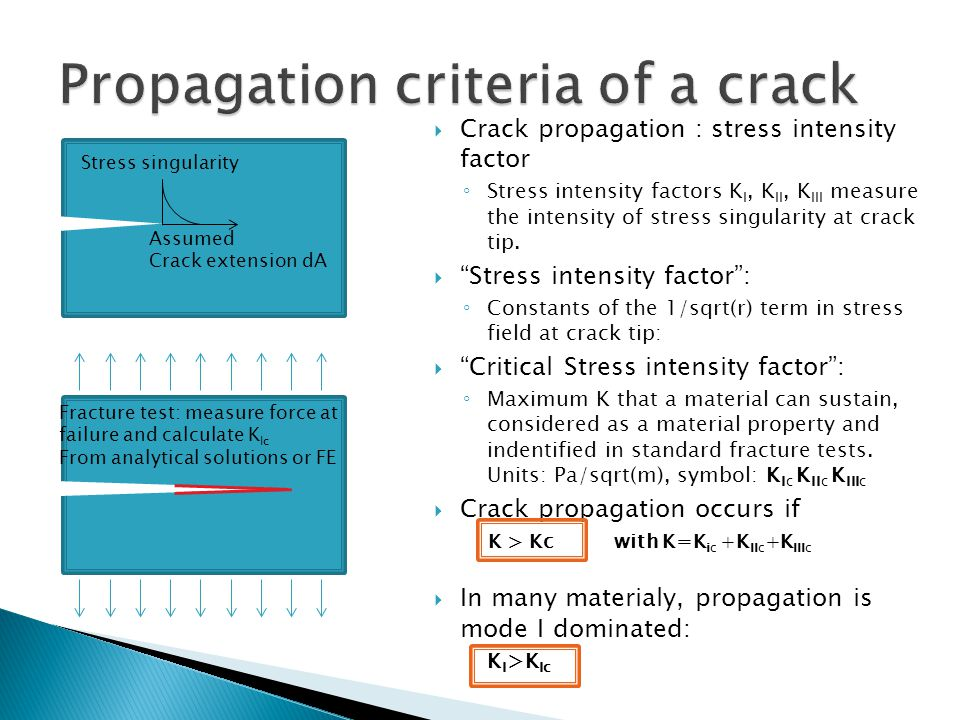  Crack propagation : stress intensity factor ◦ Stress intensity factors K I, K II, K III measure the intensity of stress singularity at crack tip. 