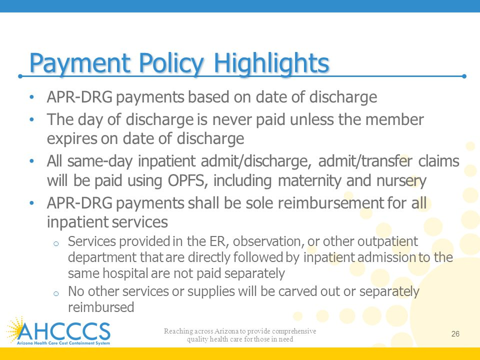 Payment Policy Highlights APR-DRG payments based on date of discharge The day of discharge is never paid unless the member expires on date of discharg