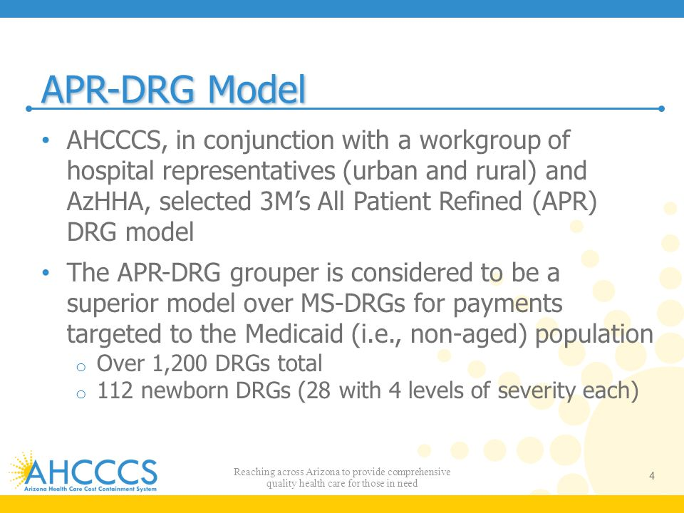 APR-DRG Model AHCCCS, in conjunction with a workgroup of hospital representatives (urban and rural) and AzHHA, selected 3M's All Patient Refined (APR)
