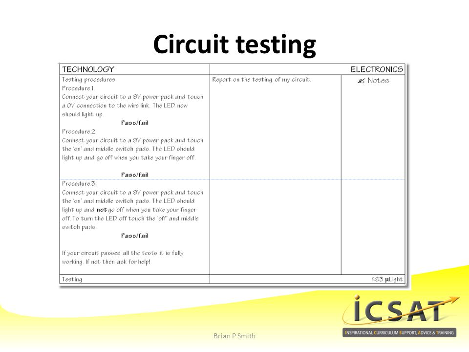 Circuit testing Brian P Smith