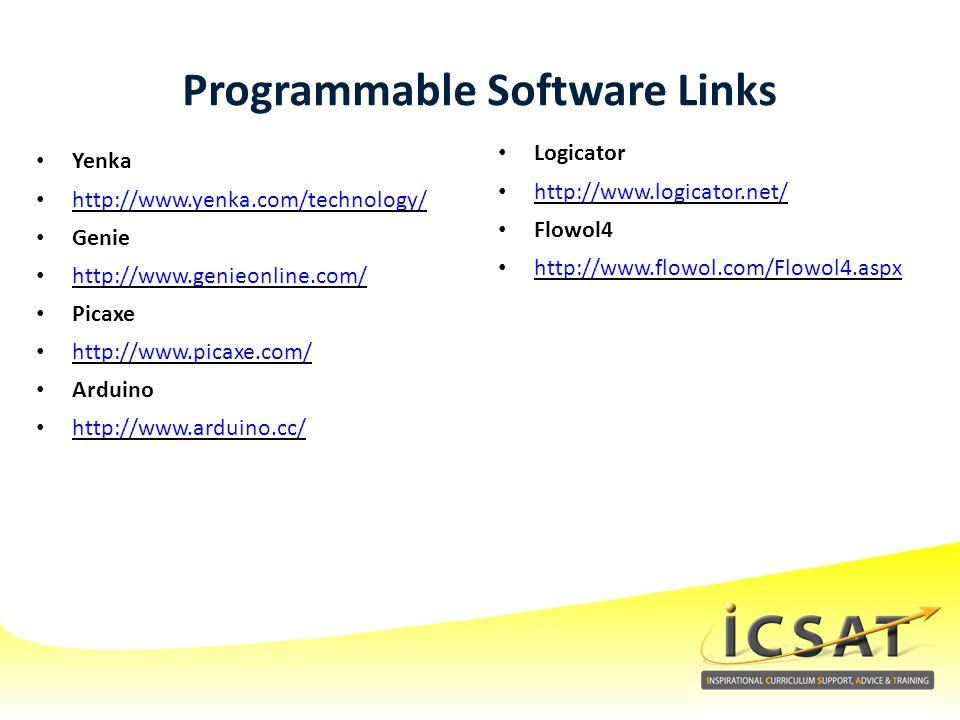 Programmable Software Links Yenka http://www.yenka.com/technology/ Genie http://www.genieonline.com/ Picaxe http://www.picaxe.com/ Arduino http://www.