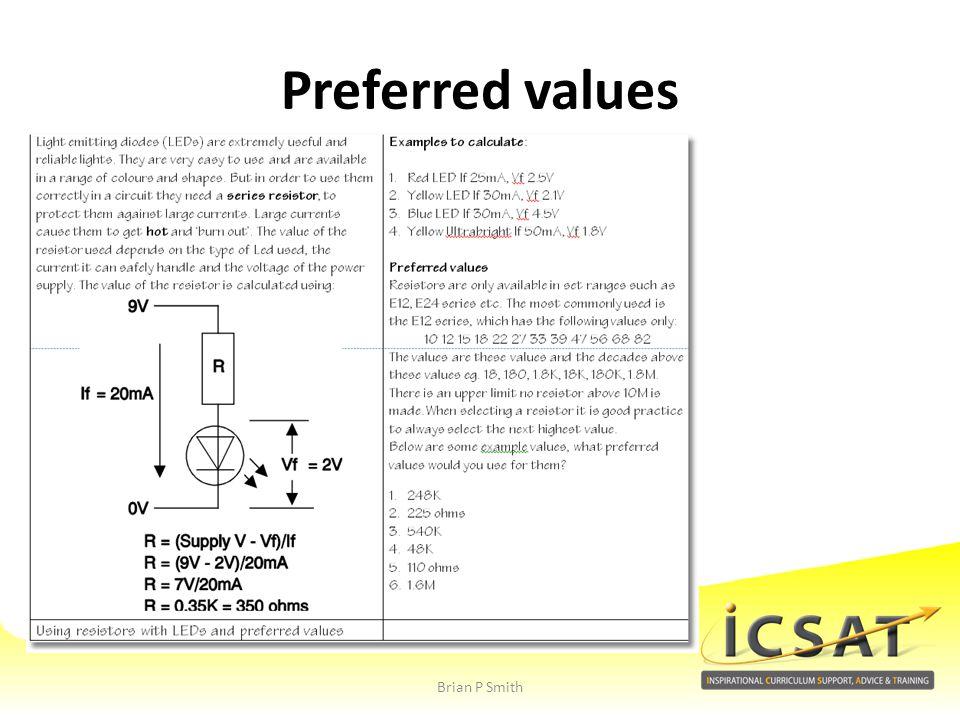 Preferred values Brian P Smith