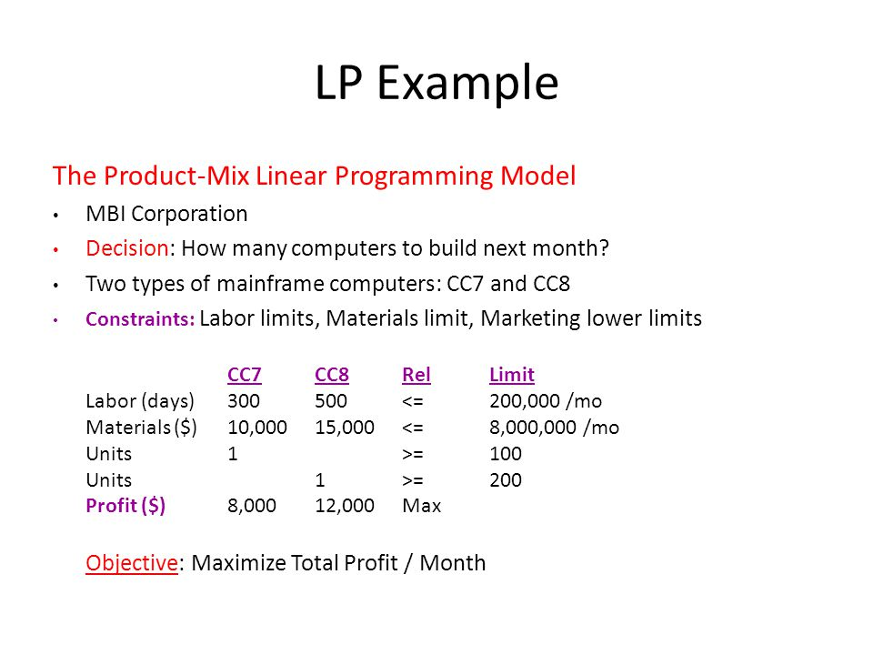 LP Example The Product-Mix Linear Programming Model MBI Corporation Decision: How many computers to build next month? Two types of mainframe computers
