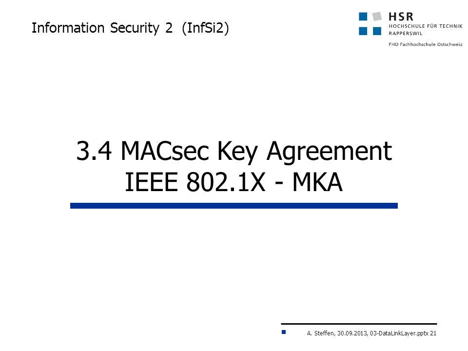 A. Steffen, 30.09.2013, 03-DataLinkLayer.pptx 21 Information Security 2 (InfSi2) 3.4 MACsec Key Agreement IEEE 802.1X - MKA