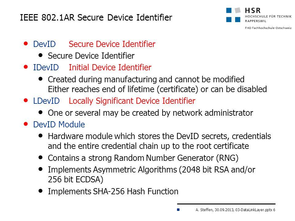 A. Steffen, 30.09.2013, 03-DataLinkLayer.pptx 6 IEEE 802.1AR Secure Device Identifier DevIDSecure Device Identifier Secure Device Identifier IDevIDIni