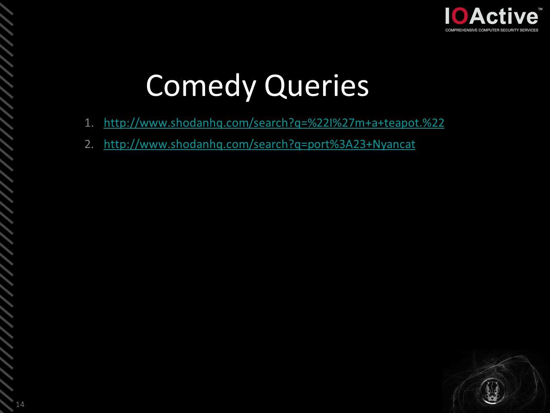 Comedy Queries 1.http://www.shodanhq.com/search?q=%22I%27m+a+teapot.%22http://www.shodanhq.com/search?q=%22I%27m+a+teapot.%22 2.http://www.shodanhq.com/search?q=port%3A23+Nyancathttp://www.shodanhq.com/search?q=port%3A23+Nyancat 14