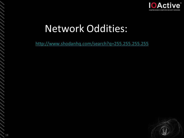 Network Oddities: http://www.shodanhq.com/search q=255.255.255.255 18