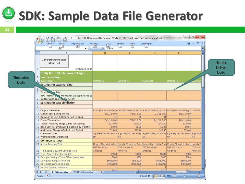 SDK: Sample Data File Generator Simulated Data Table Driven Data 21