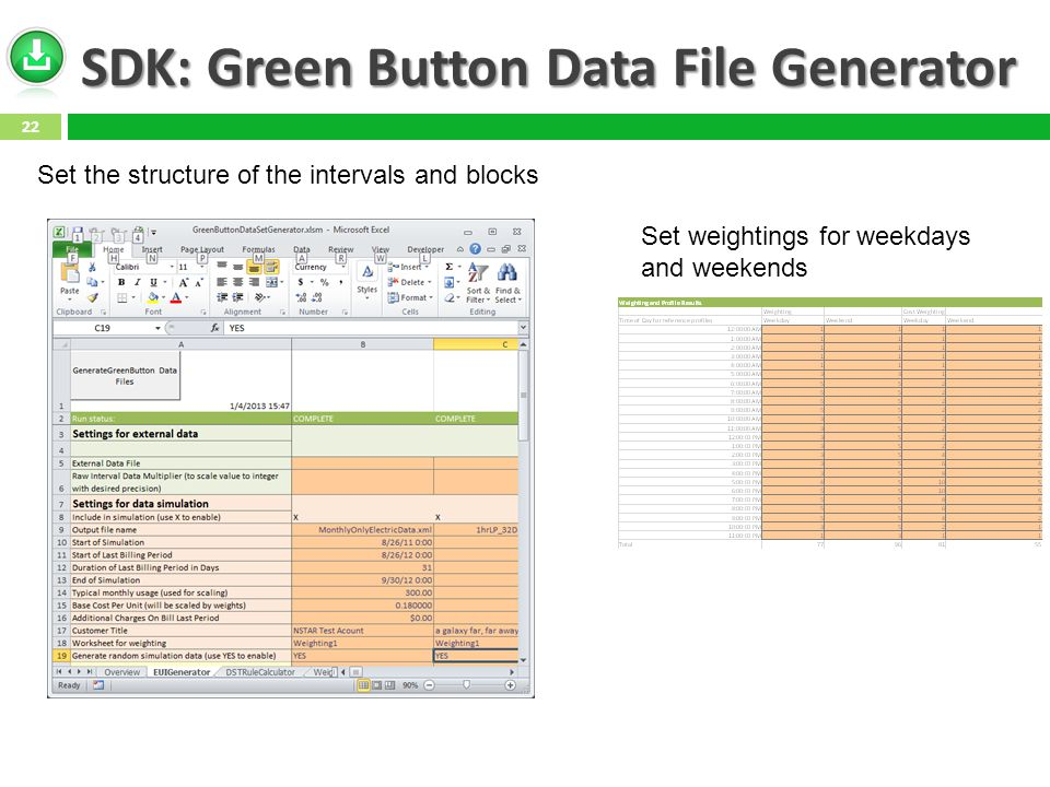 SDK: Green Button Data File Generator 22 Set the structure of the intervals and blocks Set weightings for weekdays and weekends