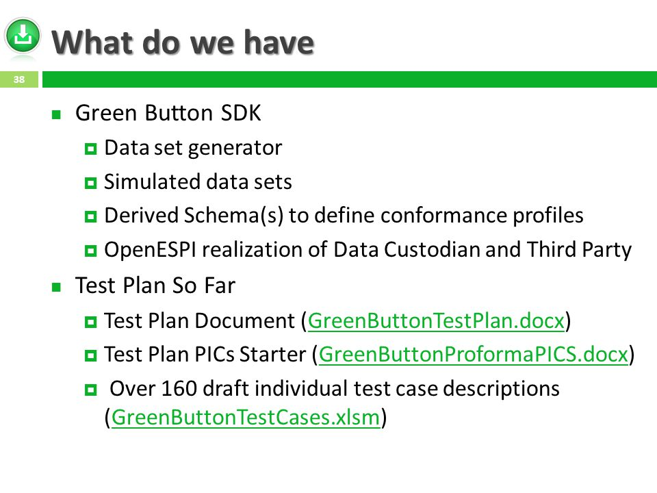 What do we have Green Button SDK  Data set generator  Simulated data sets  Derived Schema(s) to define conformance profiles  OpenESPI realization of Data Custodian and Third Party Test Plan So Far  Test Plan Document (GreenButtonTestPlan.docx)GreenButtonTestPlan.docx  Test Plan PICs Starter (GreenButtonProformaPICS.docx)GreenButtonProformaPICS.docx  Over 160 draft individual test case descriptions (GreenButtonTestCases.xlsm)GreenButtonTestCases.xlsm 38