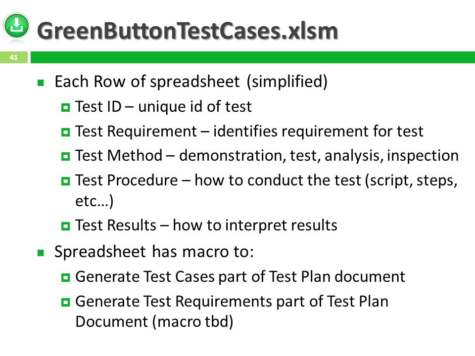 GreenButtonTestCases.xlsm Each Row of spreadsheet (simplified)  Test ID – unique id of test  Test Requirement – identifies requirement for test  Test Method – demonstration, test, analysis, inspection  Test Procedure – how to conduct the test (script, steps, etc…)  Test Results – how to interpret results Spreadsheet has macro to:  Generate Test Cases part of Test Plan document  Generate Test Requirements part of Test Plan Document (macro tbd) 41