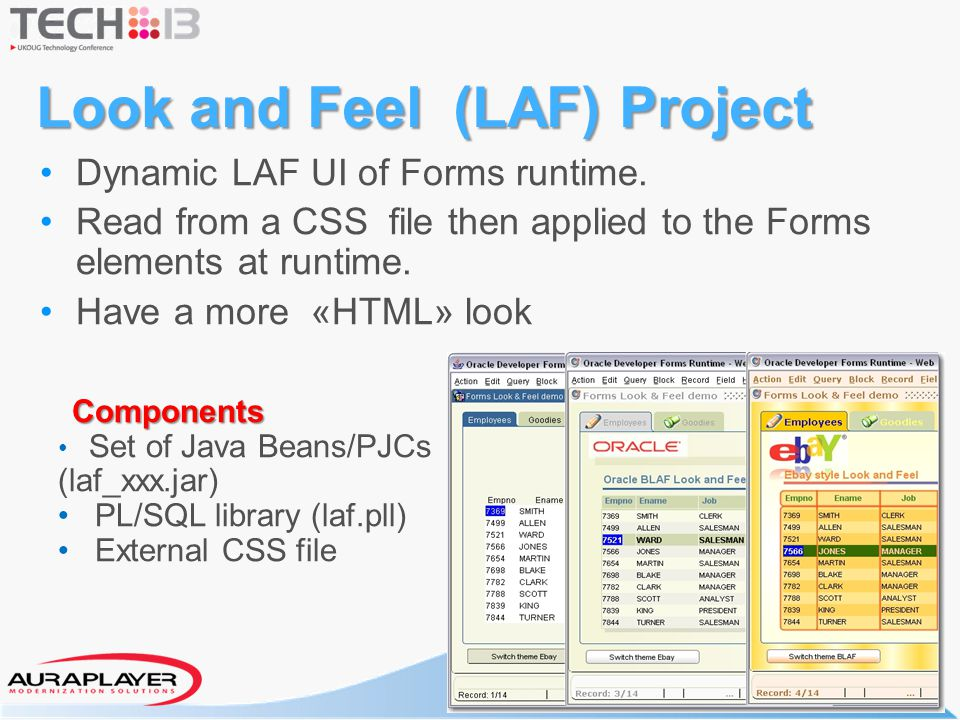 Look and Feel (LAF) Project Dynamic LAF UI of Forms runtime. Read from a CSS file then applied to the Forms elements at runtime. Have a more «HTML» lo