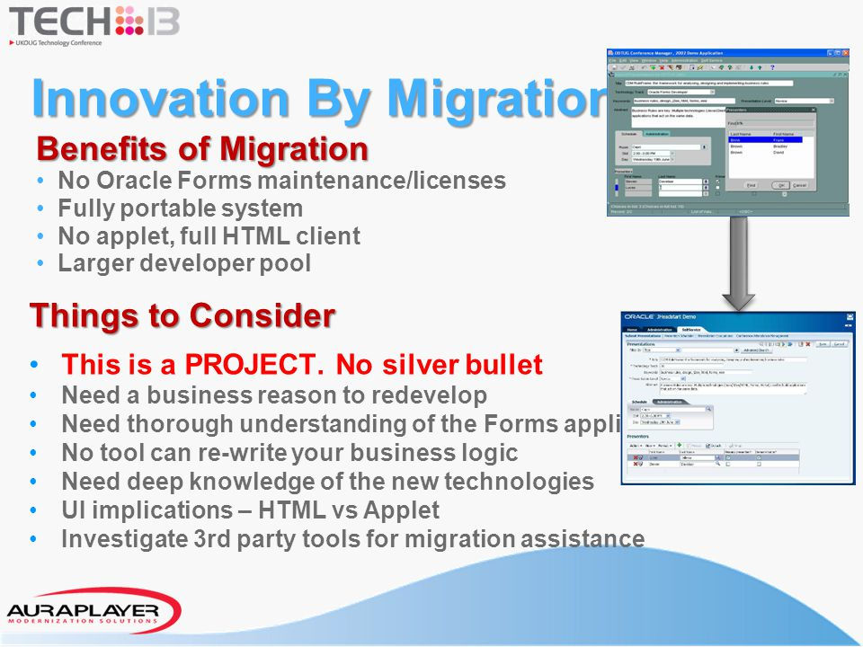 Innovation By Migration Things to Consider This is a PROJECT. No silver bullet Need a business reason to redevelop Need thorough understanding of the